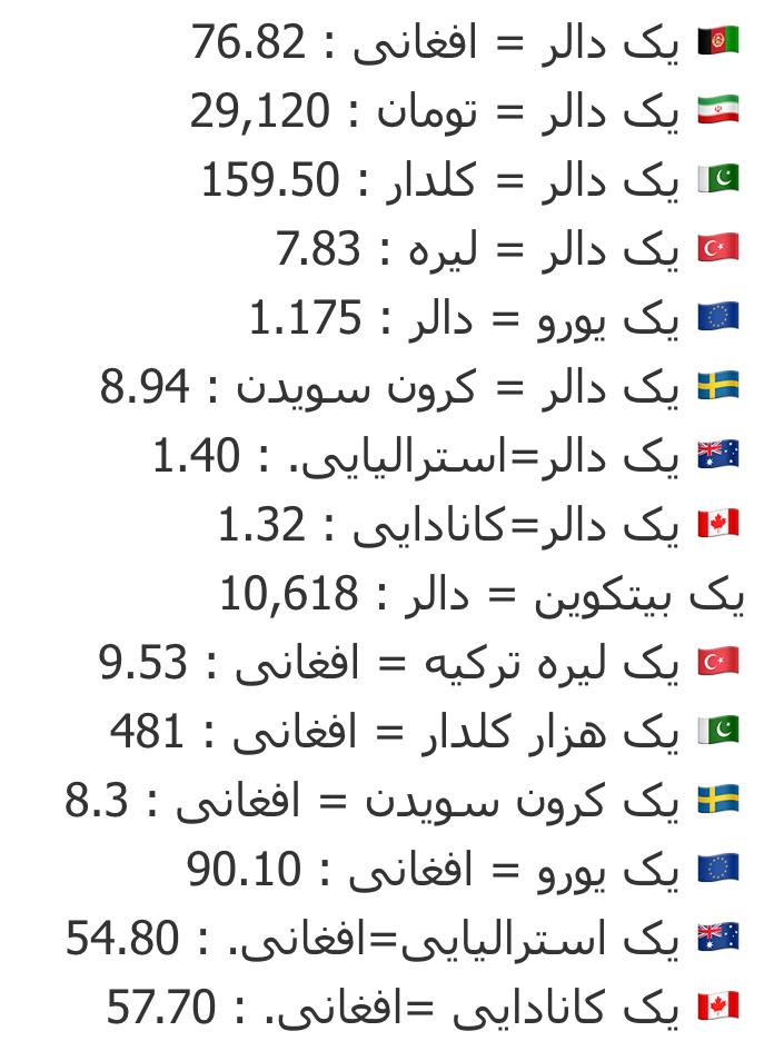 نرخ اسعار امروز